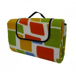 Extra large picnic blanket with green, yellow, blue and orange squares