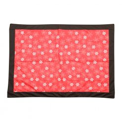 Red Picnic Rug with Floral Pattern