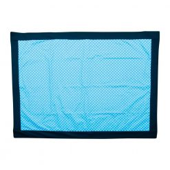 Blue Picnic Rug with White Polca